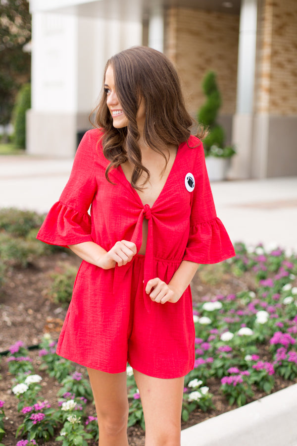 Mustang Must Romper- Red