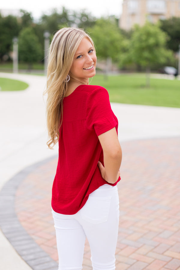 Crimson Comeback Top