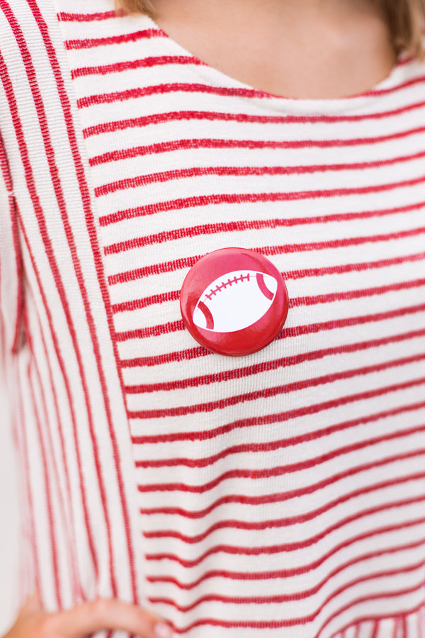 Football Button- Red