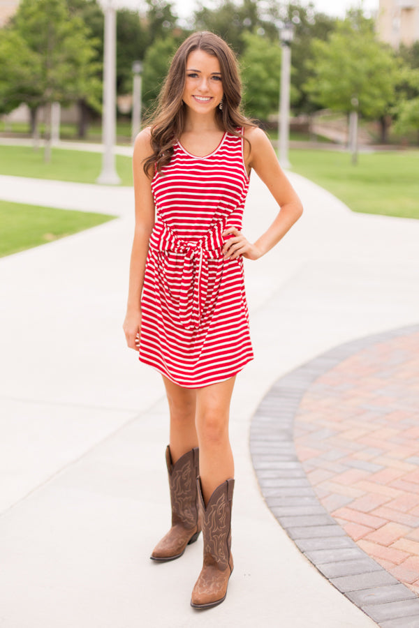 Sideline Stripes Dress- Red