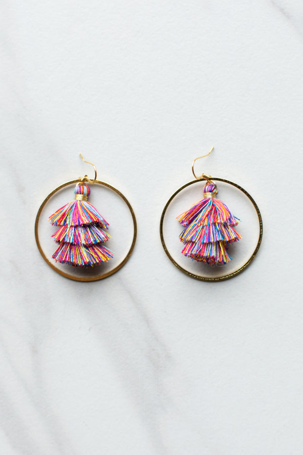 Tassel Hoop Earrings- Multicolor