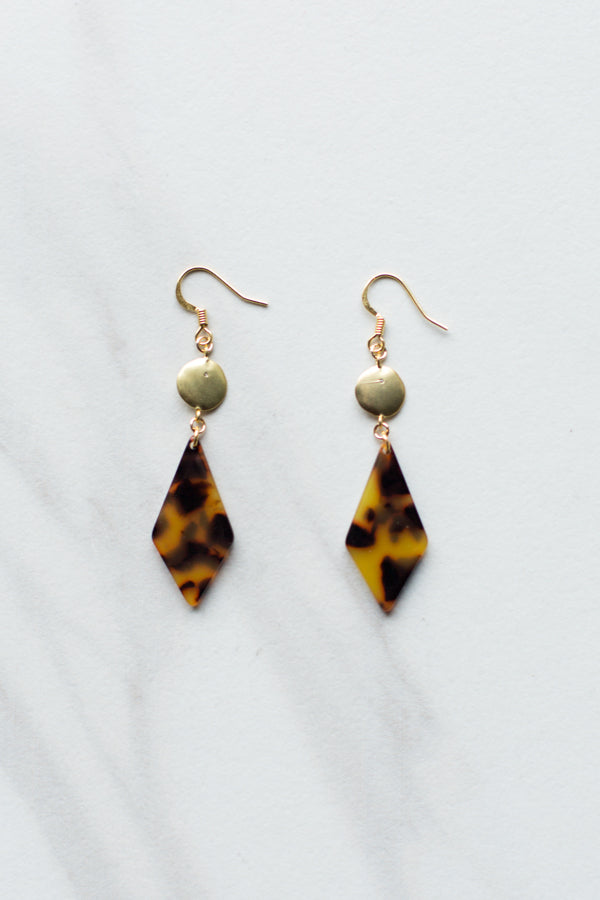 Acrylic Tortoise Drop Earrings