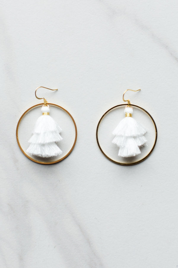 Tassel Hoop Earrings- White