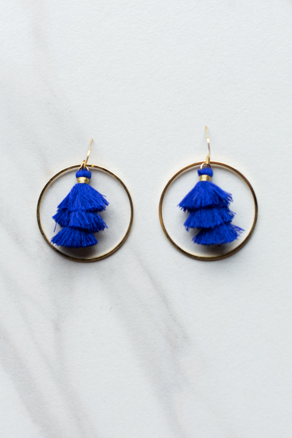 Tassel Hoop Earrings - Blue