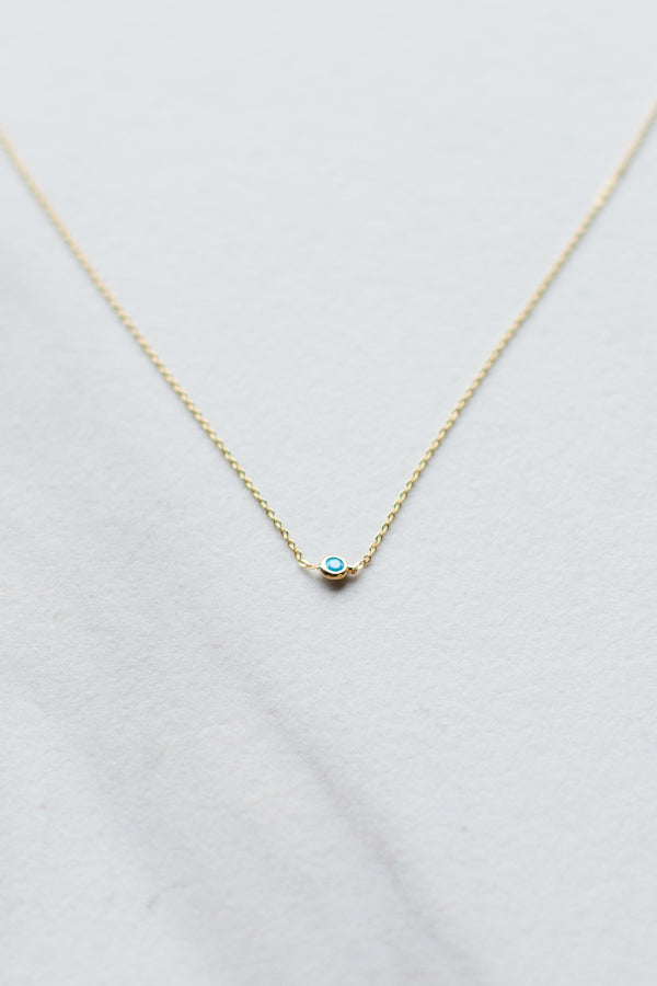Dainty Blue Drop Necklace