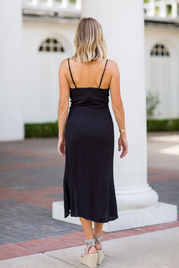 Steal The Show Midi Dress- Black