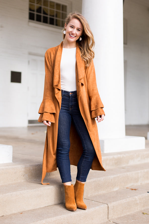 Downtown Duster Jacket- Camel