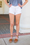 Cute As A Button Denim Shorts- White