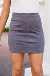 Simply Suede Skirt- Charcoal