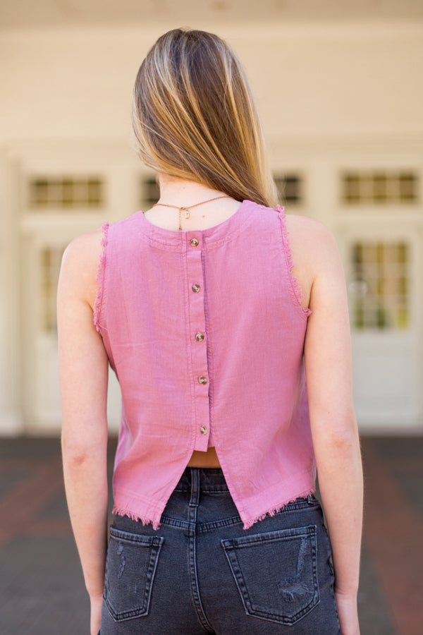 Fiercely Frayed Top - Mauve