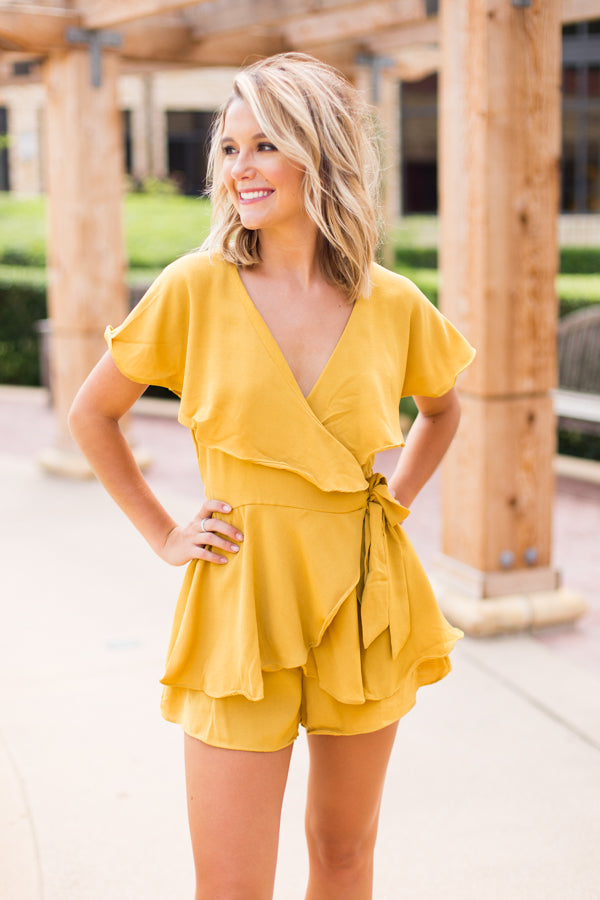 Girly Girl Wrap Tie Romper- Mustard
