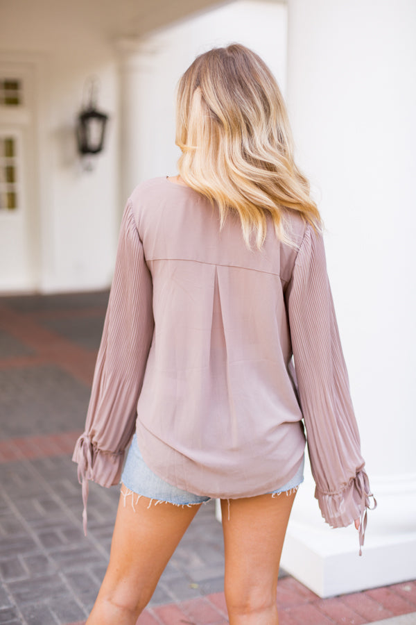 Meet The Pleats Top- Taupe