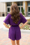 Frogs Forever Romper- Purple