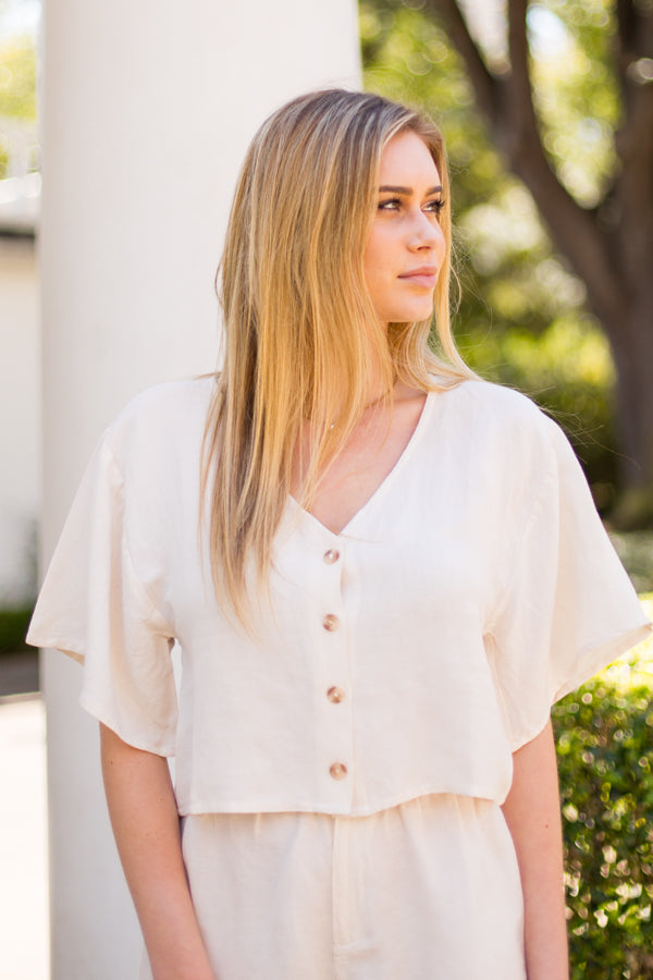 Amuse Society Bungalow Woven Top - Casa Blanca