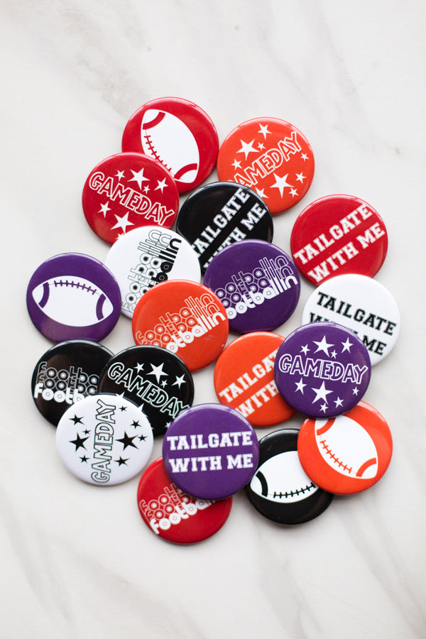 Tailgate With Me Button- Purple