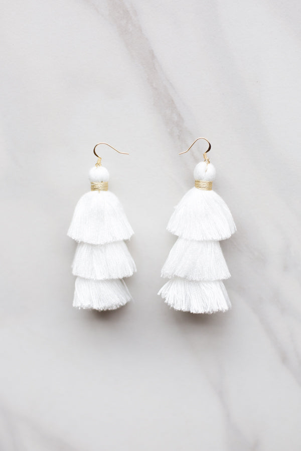 Medium White Tassel Earrings