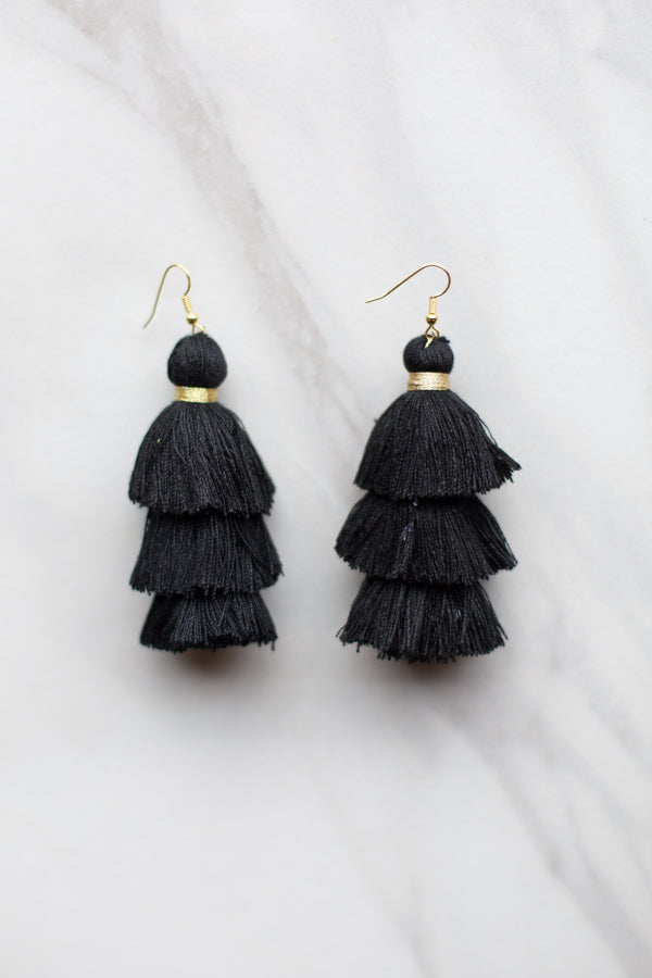 Medium Black Tassel Earrings
