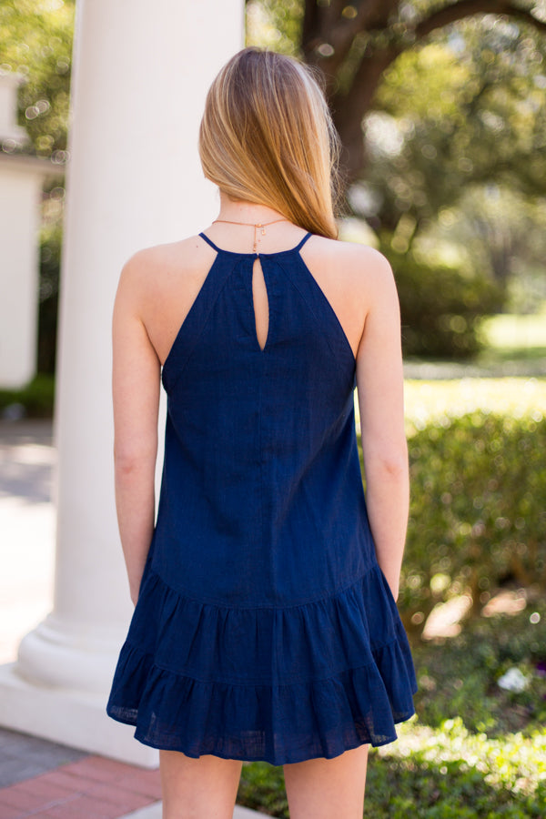 Party By The Pool Dress - Navy