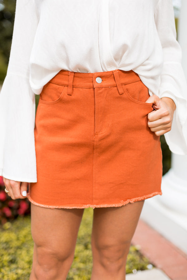 Sweet As Pumpkin Pie Skirt- Rust