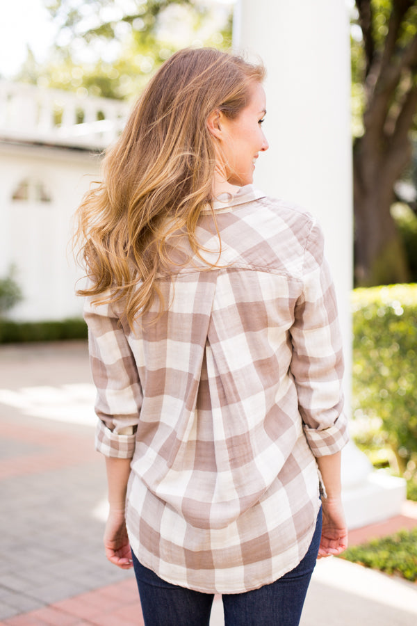 Fallin' For You Flannel- Taupe