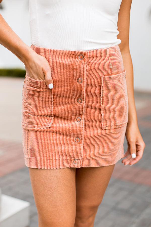 Corduroy Pocket Skirt- Dusty Coral