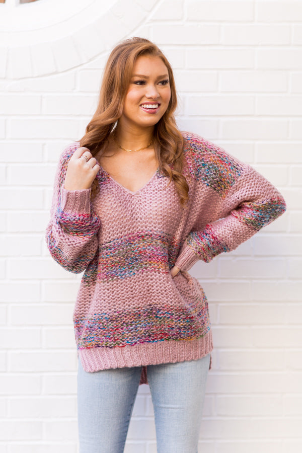Lost In Candyland Sweater - Vintage Rose
