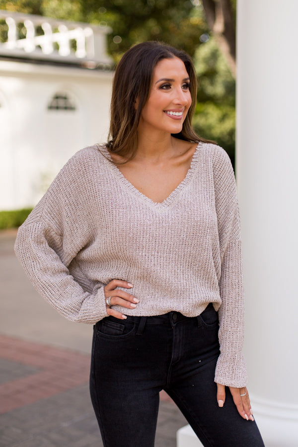 Break Knit Down Cropped Sweater- Taupe