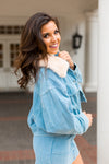 Fur Collar Corduroy Jacket- Sky Blue