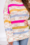Happy As Can Be Sweater - Magenta Stripe