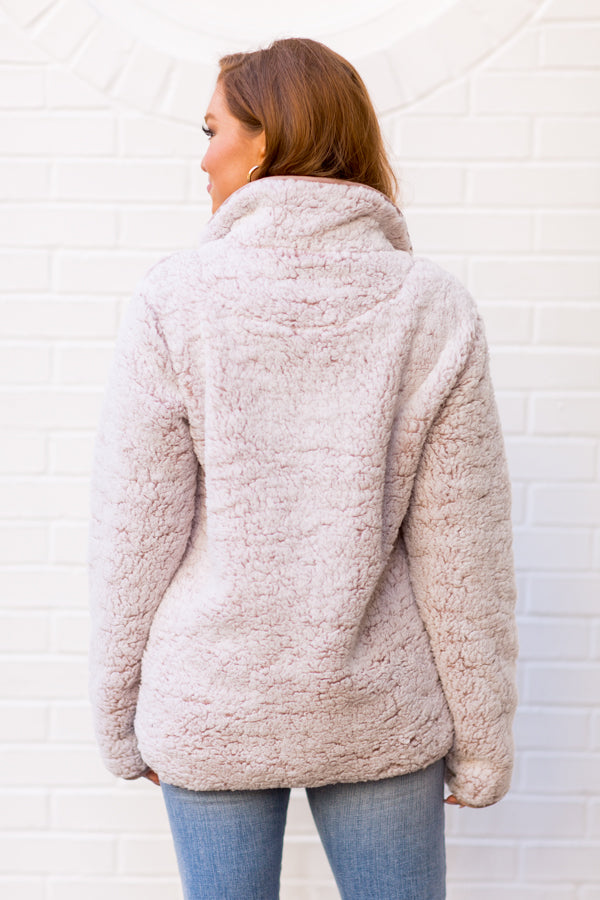 Out In The Snow Sherpa Pullover - Mauve
