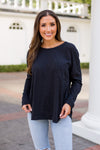 Day To Day Long Sleeve Pocket Tee- Black