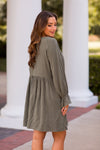 Before The Leaves Fall Dress - Olive