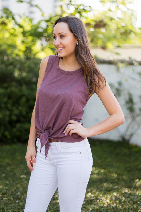 Vintage Berry Tie Top