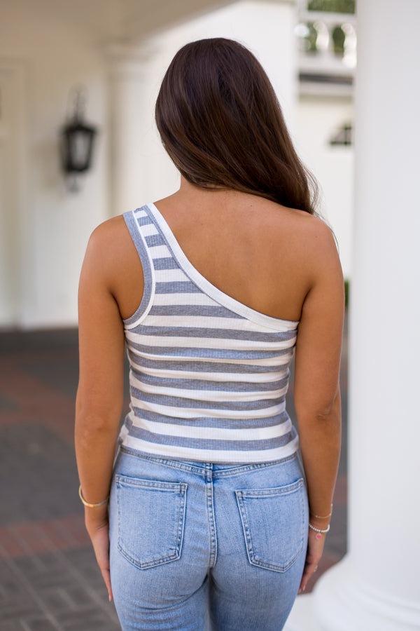 Good Side Striped One Shoulder Top- Grey