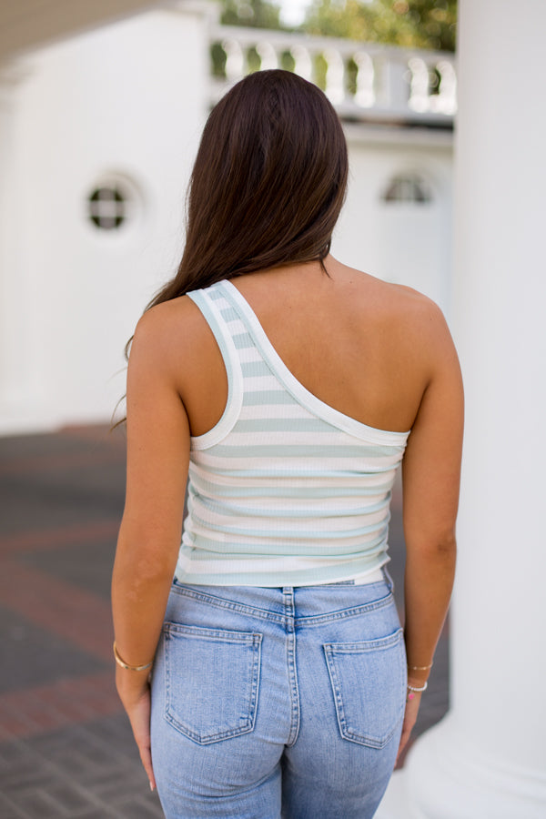 Good Side Striped One Shoulder Top- Sage