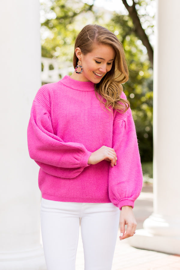 Double Bubble Sweater- Magenta