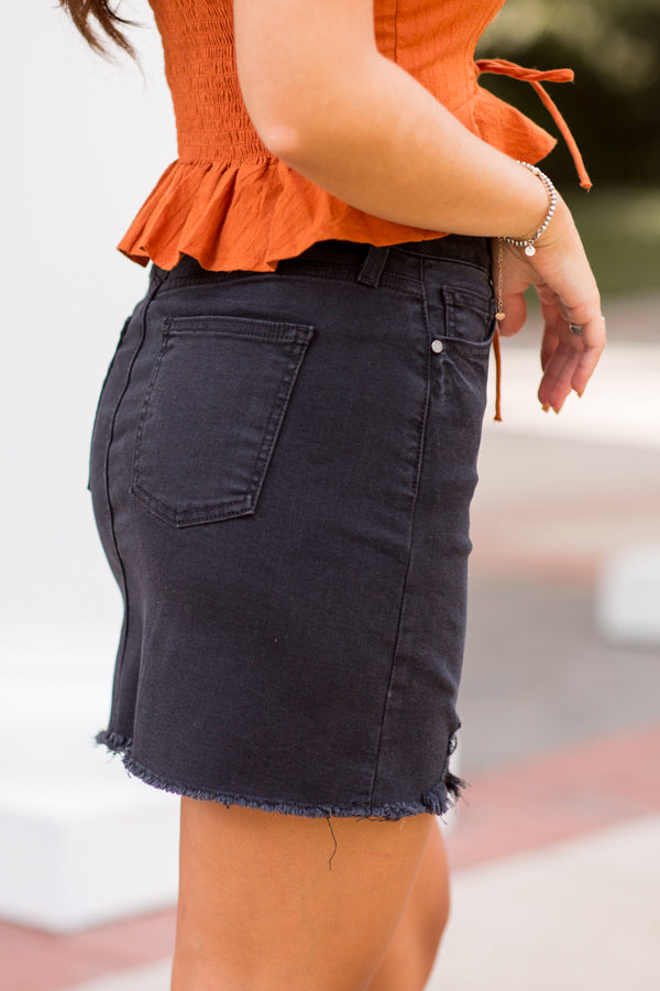 A Little Bit Rock N Roll Denim Skirt - Black