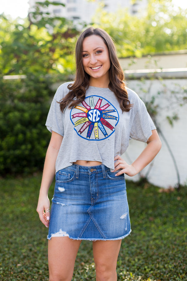 SEC Cropped Tee- Gray