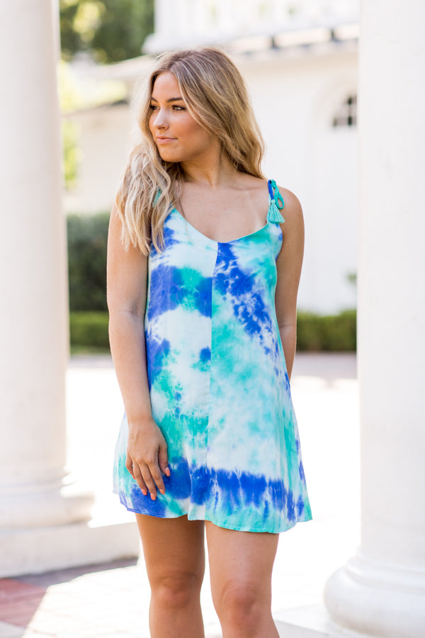 Lagoon Lovin' Dress- Blue Tie Dye
