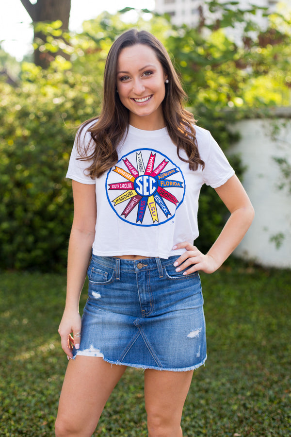 SEC Cropped Tee- White
