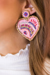 Cross My Heart Earrings - Pink Multi