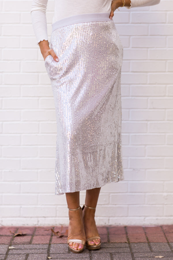 Wow Factor Sequin Midi Skirt - Silver