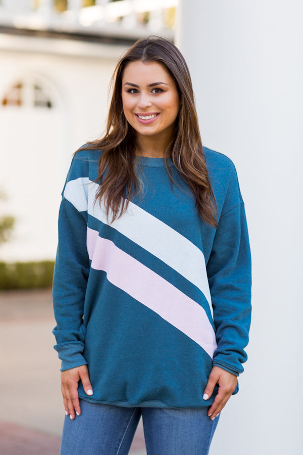 Wildfox Dual Stripes Roadtrip Sweater - Jewel