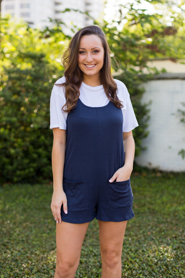 Navy Nights Overall Romper