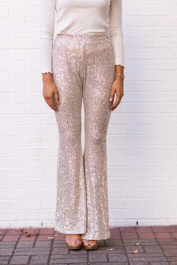 Sparkle Season Sequin Flare Pants - Champagne