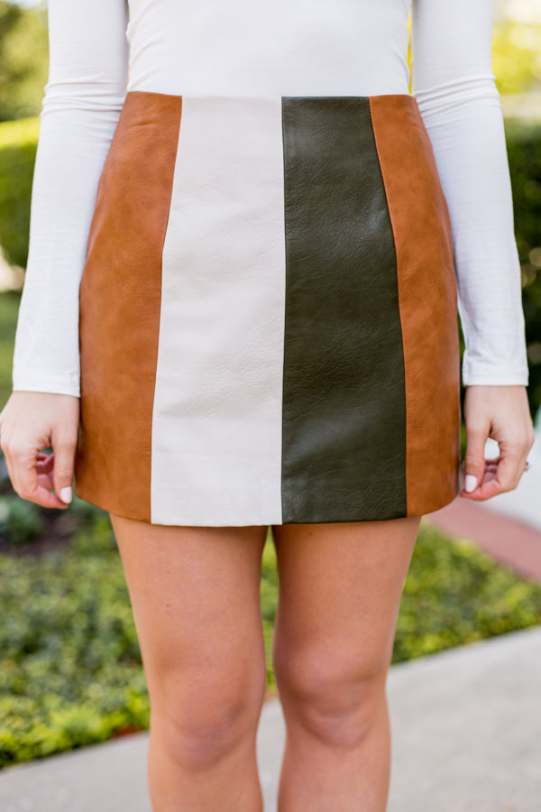Thankful Leather Skirt- Camel