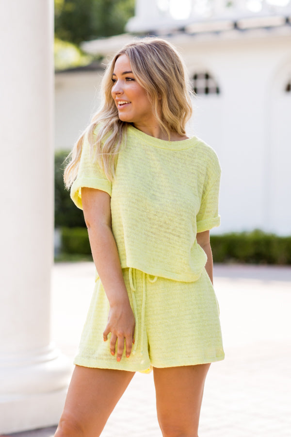 Stay Sunny Shorts- Highlighter Yellow