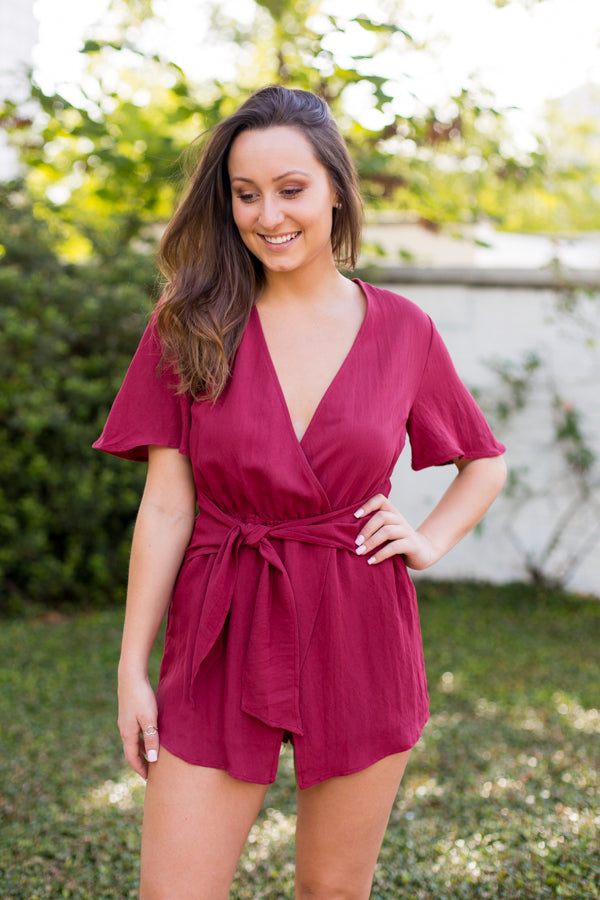 Sweet Sooner Romper- Wine