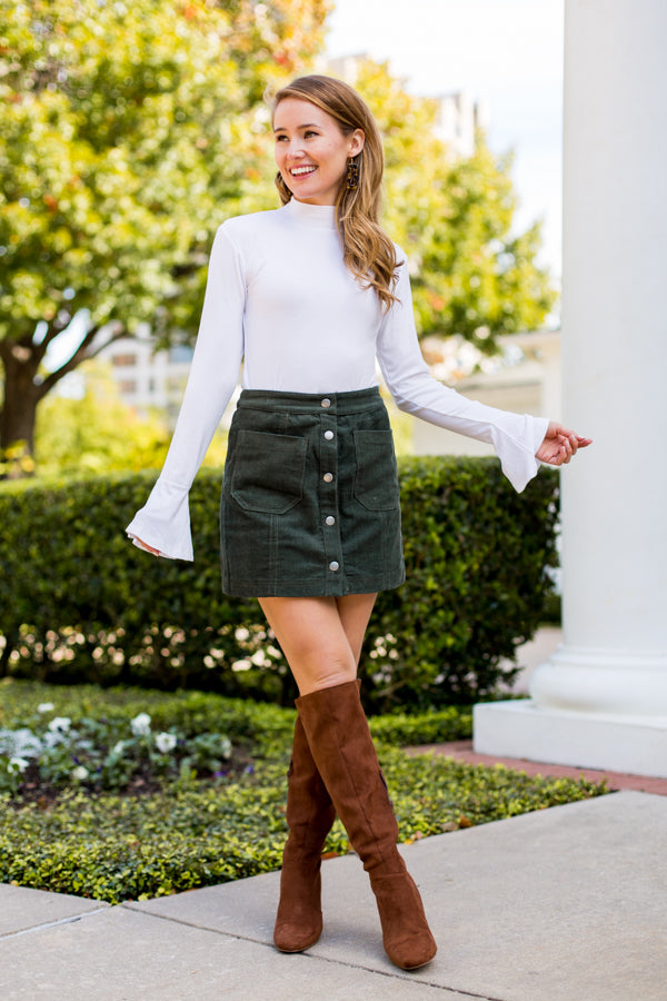 Under The Tree Corduroy Skirt- Army Green