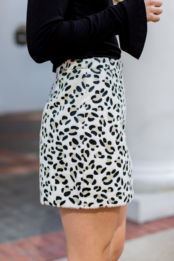 Holy Cow Zip Up Skirt- White